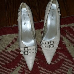 White high heels with pointed  toes